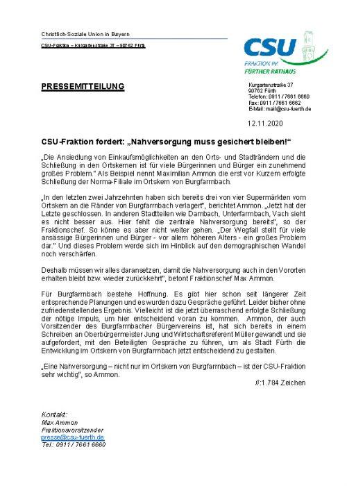 Pressemitteilung CSU-Fraktion fordert Nahversorgung muss gesichert bleiben! , 12.11.2020.docx