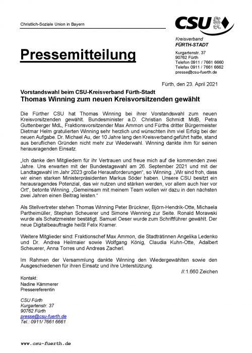 Pressemitteilung CSU-Kreisverband wählt neuen Kreisvorstand, 23.04.2021