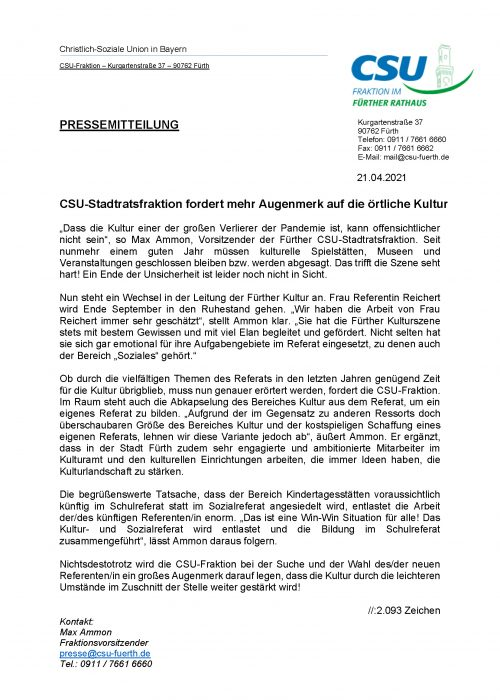 Pressemitteilung CSU-Stadtratsfraktion fordert mehr Augenmerk auf die örtliche Kultur, 21.04.2021