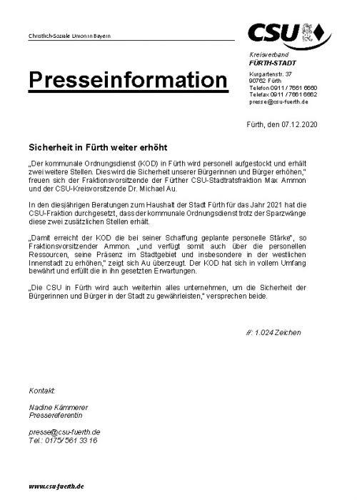 Pressemitteilung Sicherheit in Fürth weiter erhöht, 7.12.2020
